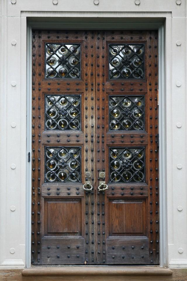 Wood Door with Hand Blown Glass Rondels Pennsylvania, USA