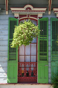 Green Shutters and Hanging Basket French Quarter, New Orleans, La.