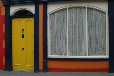 Yellow Door with Lace Window Kinsale, Ireland