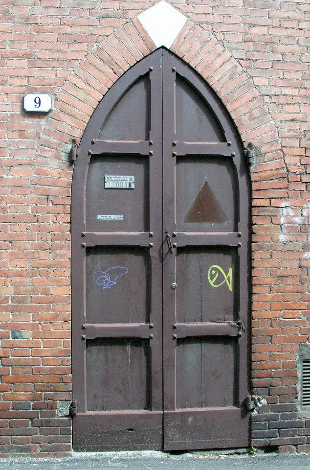 Pointed Door with Fish Lucca, Italy
