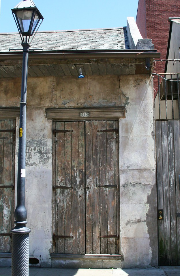 Multi Colored Door, with Lamp Post French Quarter, New Orleans, La.