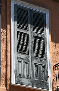 Grey door,Stucco wall French Quarter, New Orleans, La.