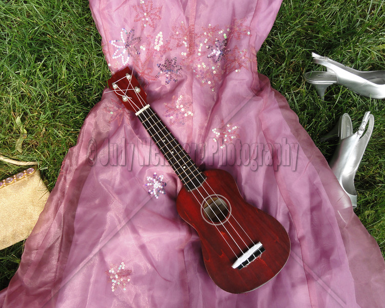 Pink dress dreaming in the grass . . . with a ukulele of course.