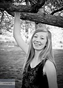 Tess Hand on Branch Big Smile bw-
