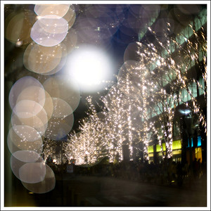 Double exposure of the holiday lights at Marunouchi