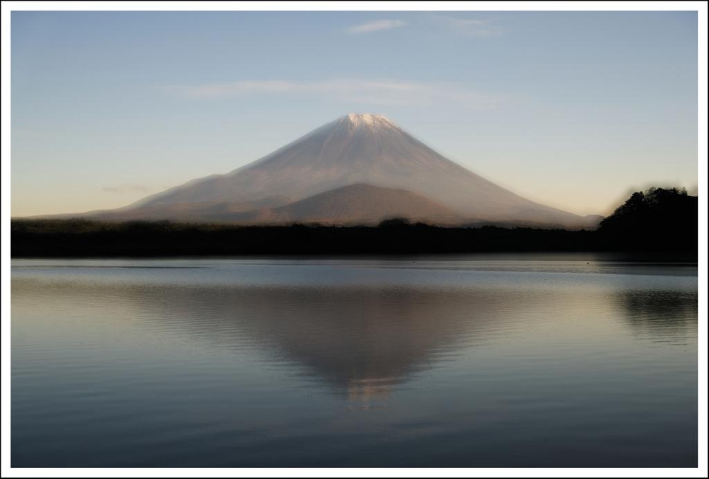 Mt. Fuji at Shojinko.  2 exposures.