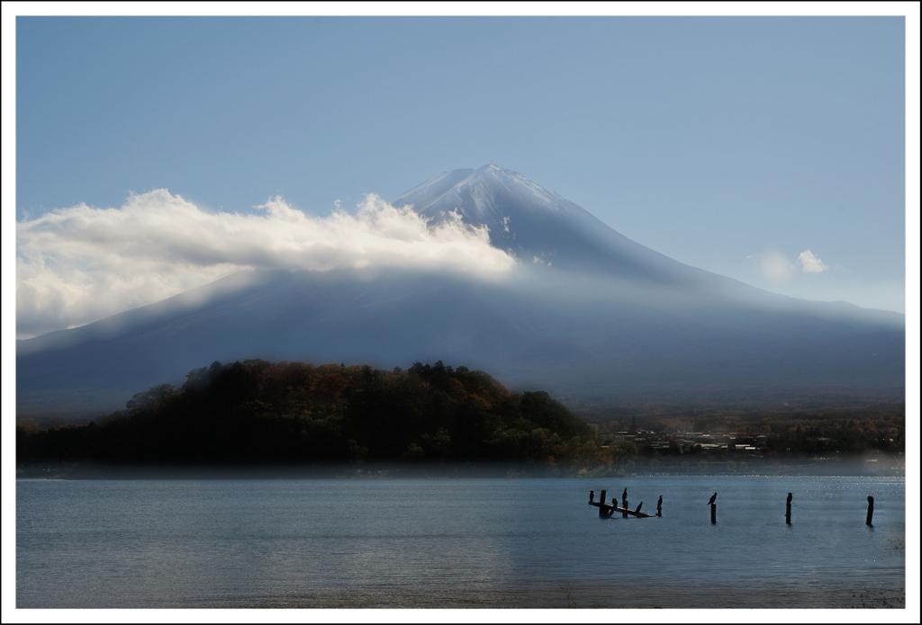 Mt. Fuji at Kawaguchiko.  2 exposures