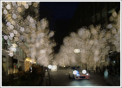 A triple exposure.  Marunouchi holiday lights.