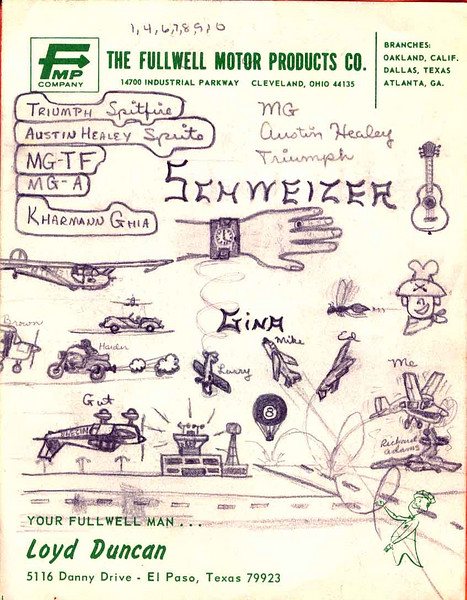 "PAGE 1 Okay, the automobile names in the balloons are my dream cars. ""Schweizer"" is the manufacturer of the glider I trained in -- a Schweizer 2-22 -- whose image is below the car name balloons. (Check out my On Flying gallery for an actual photo of it.) I had just gotten a thick leather watch ""belt"" for my watch. Gina is the cute sister of my fellow glider trainee, Larry -- the one doing the spin. Gut, doing the upside-down flyby of the control tower, is the <i>nom de plume</i> (Captain Gut) of my friend Glenn, a fellow writer of our ace pilot adventures ""Aces Away"" we did on theme paper in an orange report folder. My name in it was Captain Dung. God, I wish I had that back. That's me in the high-wing airplane (Cessna N9252B) doing a few ""pogo stick"" landings. Apparently, I was having a bad landing day that day. Better than the little twerp Richard Adams, who ""landed"" his plane about five feet off the runway one day and shoved the nose gear up into the engine compartment. He was a lousy pilot, as well as an arrogant little snot. Ballooning -- something that would figure prominently in my life in later years -- appears to be making an appearance here, with the 8-Ball balloon."