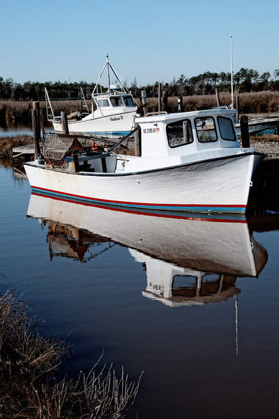 Oyster Boats at Rose Bay, NC, Oyster Factory