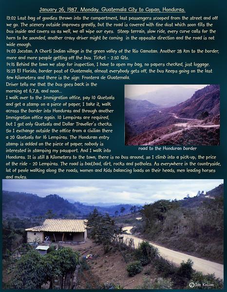 Guatemala City to Copan, Honduras. January 26, 1987
