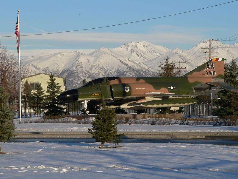 Outside the Entrance to Elmendorf AFB; Chugach Mtns. in the background
