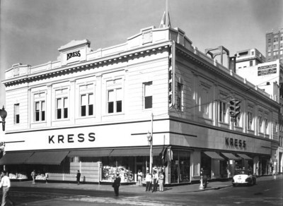 SH Kress & Company in 1949 at the intersection of Main and Adams Streets. Photo by Jack Spottswood. Courtesy of State Archives of Florida, Florida Memory, http://floridamemory.com/items/show/51143