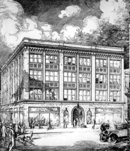 A 1920s sketch of Levy's Department Store. Photo courtesy of State Archives of Florida, Florida Memory, http://floridamemory.com/items/show/39188