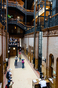 Inside the Bradbury building. Beautiful architecture and a bunch of people with cameras. :-) LAPD Internal Affairs is located here.