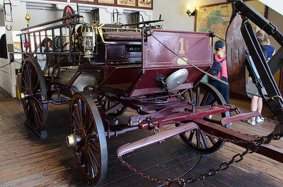 The old LA fire station and some early, horse drawn equipment.