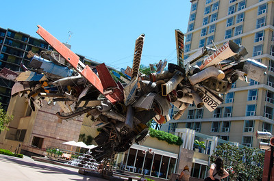 Airplane Parts sculpture in front of the Museum of Contemporary Art (MOCA).