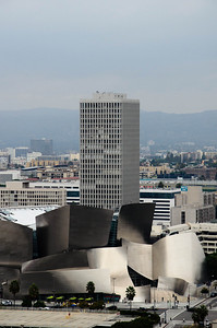 View of the Walt Disney Concert Hall from the 27th floor observation deck of city hall.