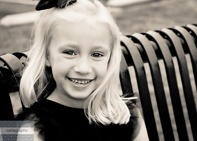 Mia on the Bench, crop warm bw-