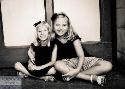 Girls by the Door, crop bw-