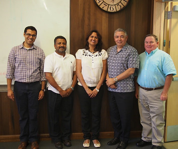 From left to right, Ashwin Aravindakshan, Asst. Prof. of Marketing, UC Davis, Graduate School of Management, Dr. Somen Nandi, Managing Director of Global HealthShare, Dr. Apoovra Palkar, Sakal International Learning Center, Prof. Raymond Rodriguez, Executive Director of Global HealthShare, and Prof. James Cullor, UC Davis School of Veterinary Medicine.