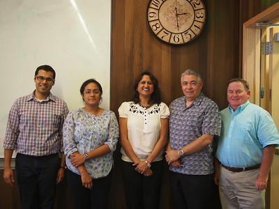 From left to right, Ashwin Aravindakshan, Asst. Prof. of Marketing, UC Davis, Graduate School of Management, Ms. Pranaya Venkatapuram, Research Intern, Global HealthShare, Dr. Apoovra Palkar, Sakal International Learning Center, Prof. Raymond Rodriguez, Executive Director of Global HealthShare, and Prof. James Cullor, UC Davis School of Veterinary Medicine.