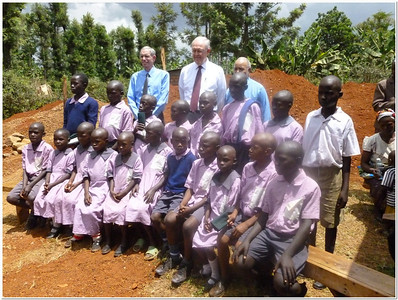 Dr. Larry Evans, and Elders Kay and Trexler with students from the small SDA deaf school at Kisii in western Kenya