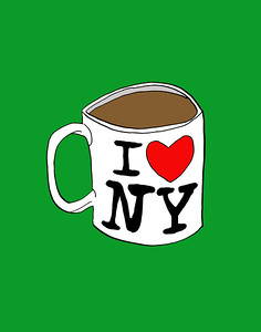 'I Heart NY Coffee Mug' ink drawing + digital coloring Daniel Driensky © 2014