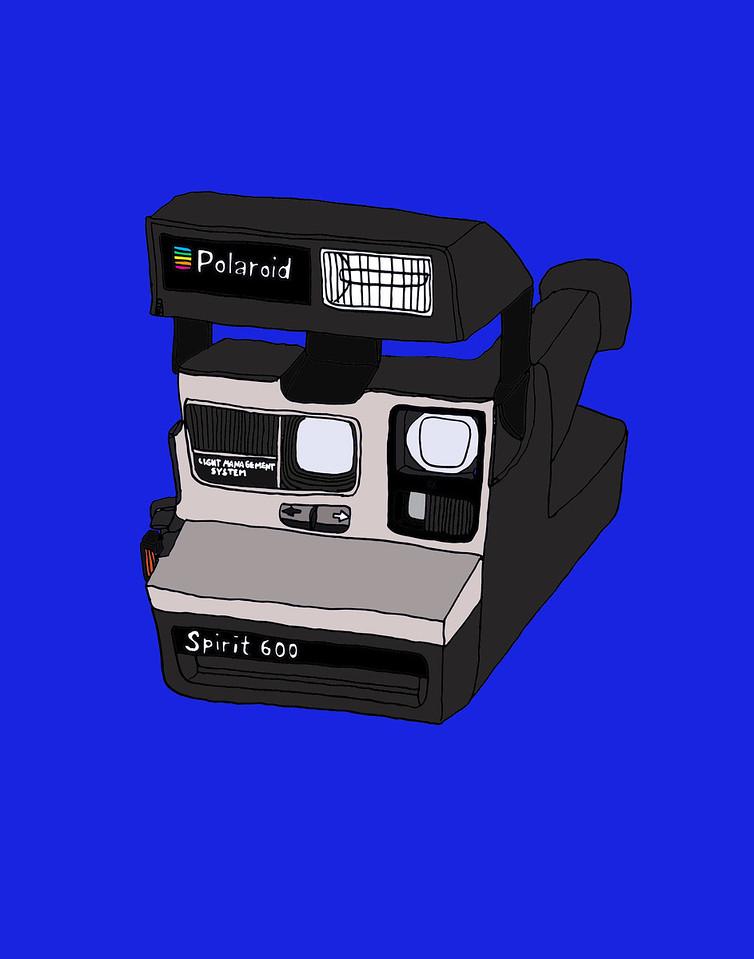'Polaroid Spirit 600'<br /> ink drawing + digital coloring<br /> Daniel Driensky © 2014