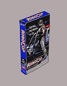 'Robocop On VHS' ink drawing + digital coloring Daniel Driensky © 2014