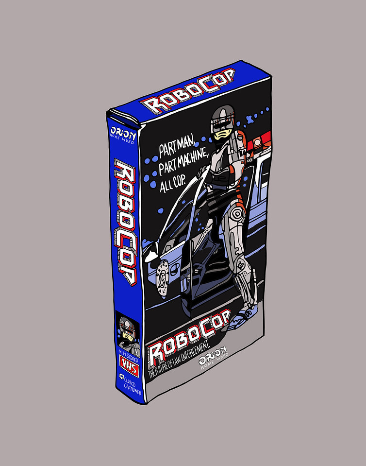 'Robocop On VHS'<br /> ink drawing + digital coloring<br /> Daniel Driensky © 2014