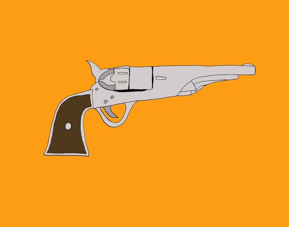 'Pistol'<br /> ink drawing + digital coloring<br /> Daniel Driensky © 2014