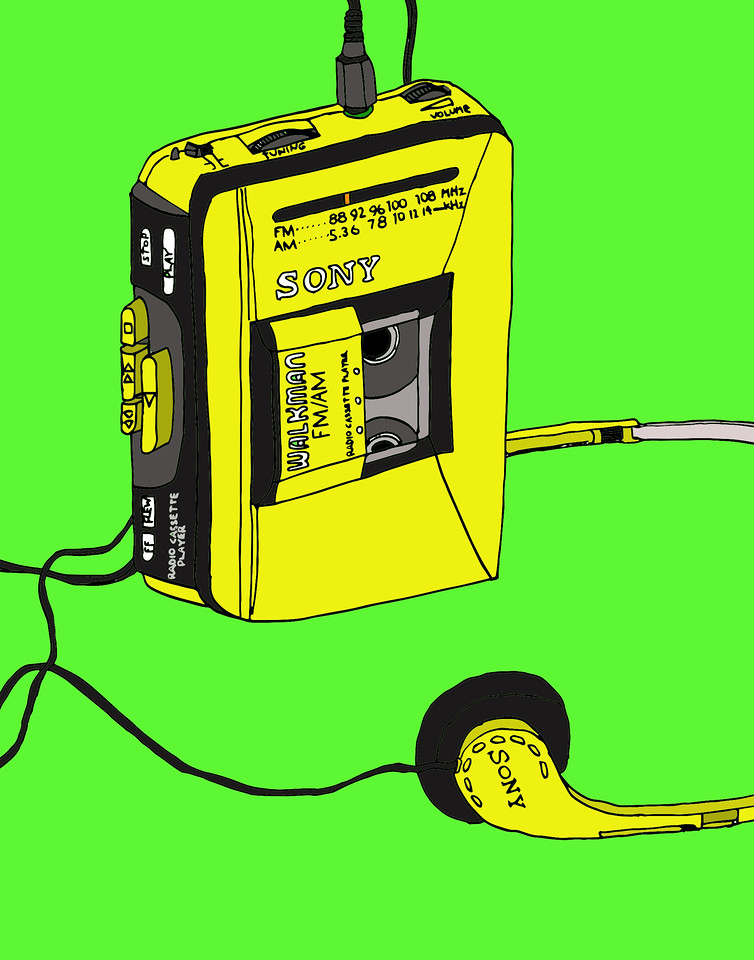 'Walkman' ink drawing + digital coloring Daniel Driensky © 2014