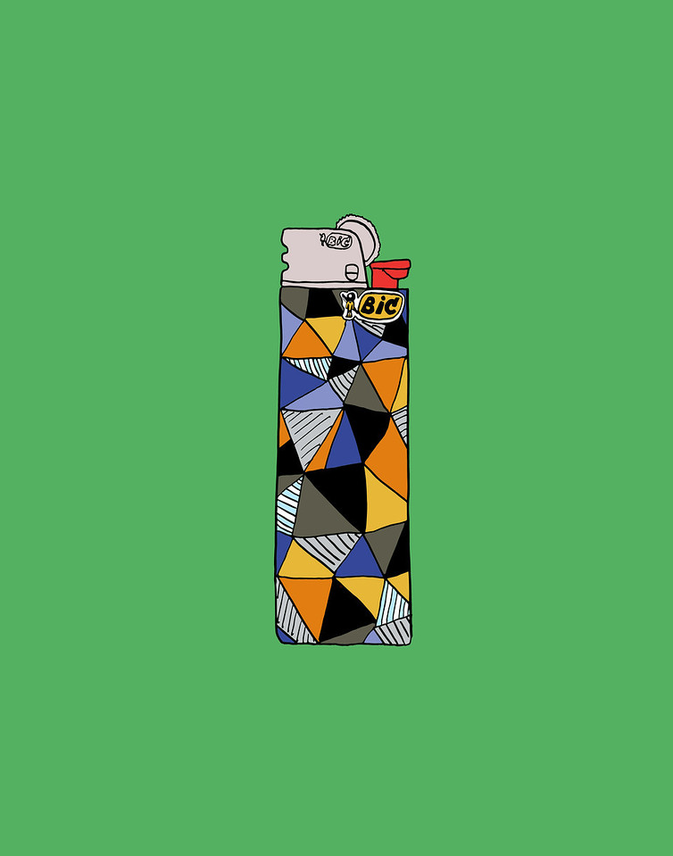 'My Favorite Bic Lighter'<br /> ink drawing + digital coloring<br /> Daniel Driensky © 2014