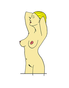 'Blonde Nude' ink drawing + digital coloring Daniel Driensky © 2014