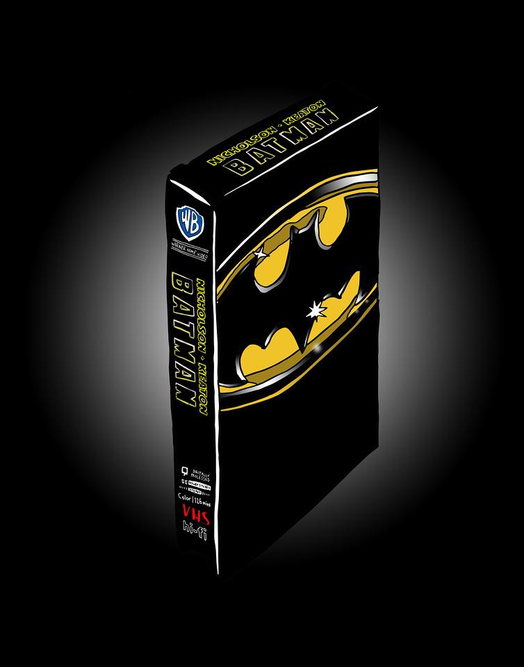 'Batman on VHS'<br /> ink drawing + digital coloring<br /> Daniel Driensky © 2014