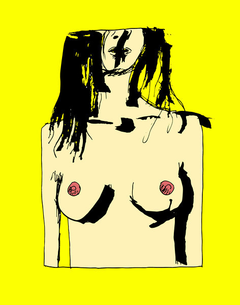 'Squared Nude' ink drawing + digital coloring Daniel Driensky © 2014