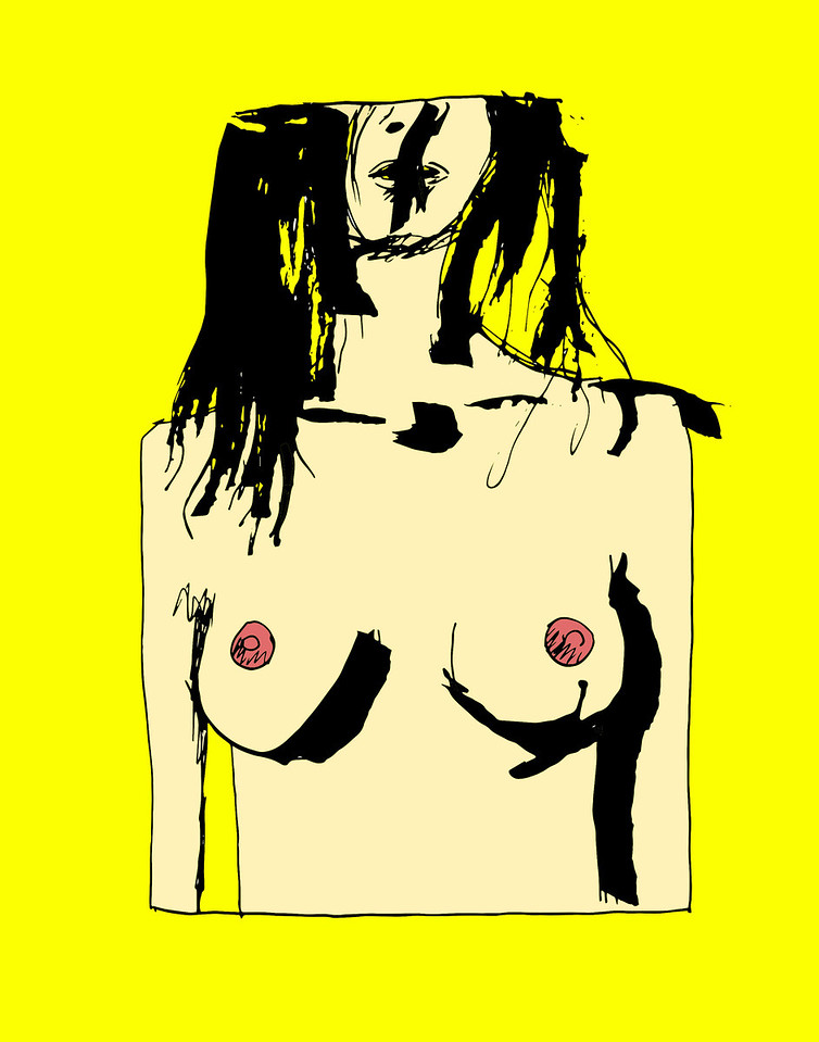 'Squared Nude'<br /> ink drawing + digital coloring<br /> Daniel Driensky © 2014