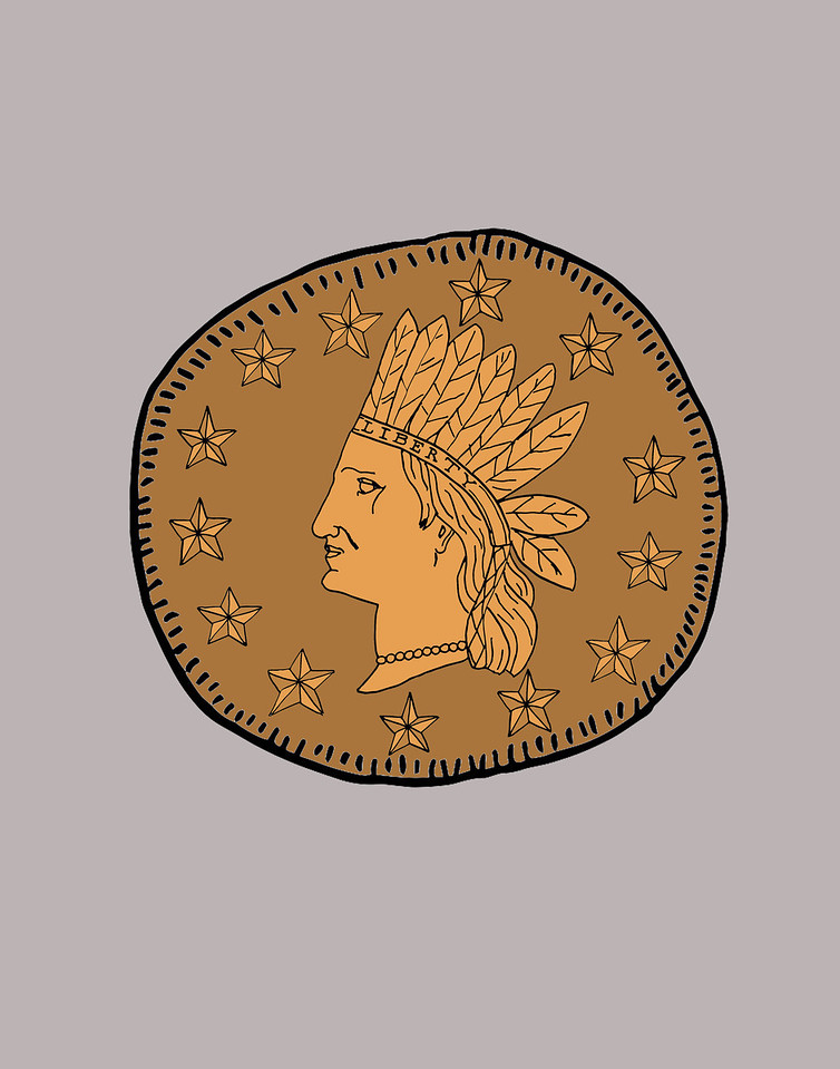 'Indian Head Coin' ink drawing + digital coloring Daniel Driensky © 2014