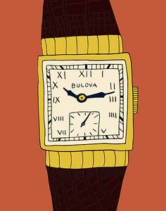 'Art Deco Watch' ink drawing + digital coloring Daniel Driensky © 2014