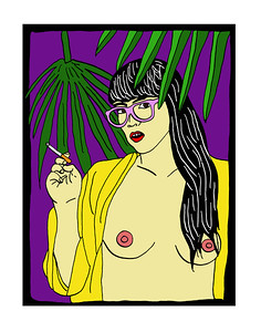 'Nude With Glasses and Cigarette' ink drawing + digital coloring Daniel Driensky © 2014