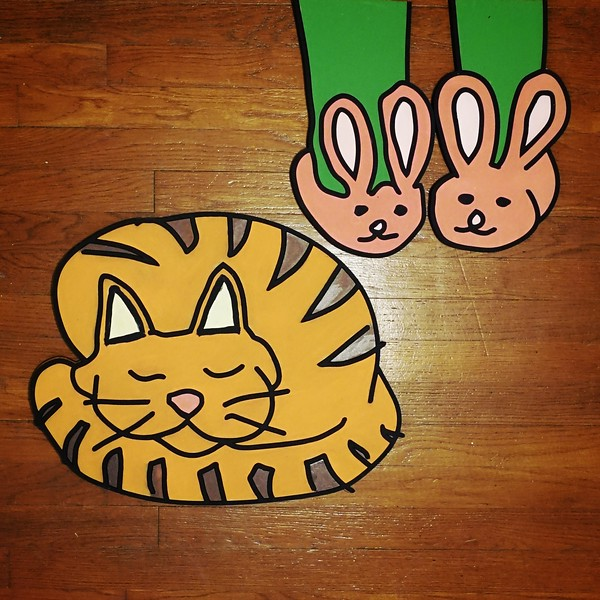 'Cat Sleeping Next to His Human's Feet With Bunny Slippers' Driensky Drawings 2.0 (collaboration with Sarah Reyes) Wood and Acrylic Paint