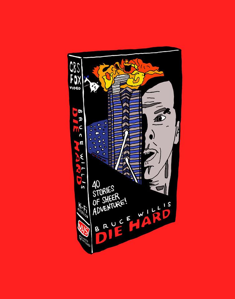 'Die Hard On VHS'<br /> ink drawing + digital coloring<br /> Daniel Driensky © 2014