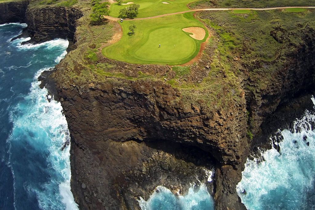 Drone Cam Hawaii -  Four Seasons Manele Course - #12.   Island of Lana'i, Hawaii