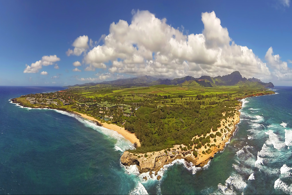 Drone Cam Hawaii - South Shore Aerial Panoramic - Kaua'i - Hawaii
