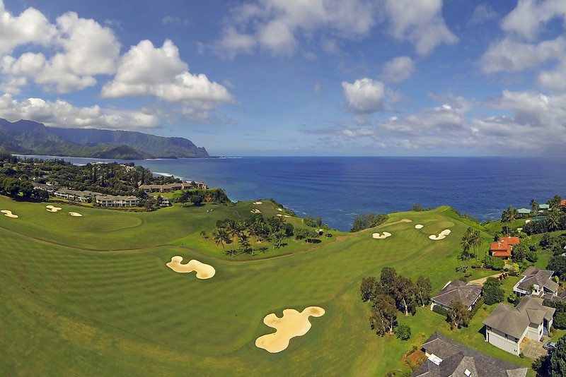 Drone Cam Hawaii - Hole #6 - Makai Golf Club at Princeville - Island of Kauai, Hawaii