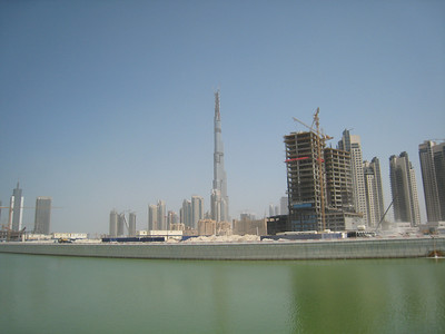 From Business Bay with Burj Dubai in the distance.