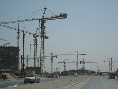 Cranes everywhere in the Business Bay development.