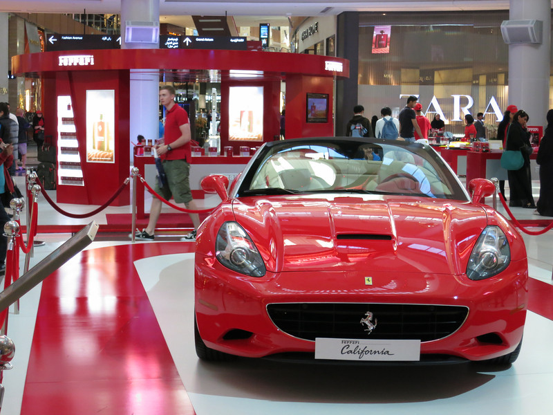 In yet another time zone of the mall, there was a large Ferrari exhibition.