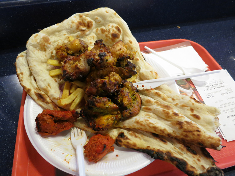 Lunch, tandoor and yogurt marinated chicken with fries and nan bread (yum).
